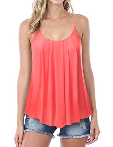NINEXIS Womens Sleeveless Pleated Chiffon Layered Cami Tank Top Melon ()