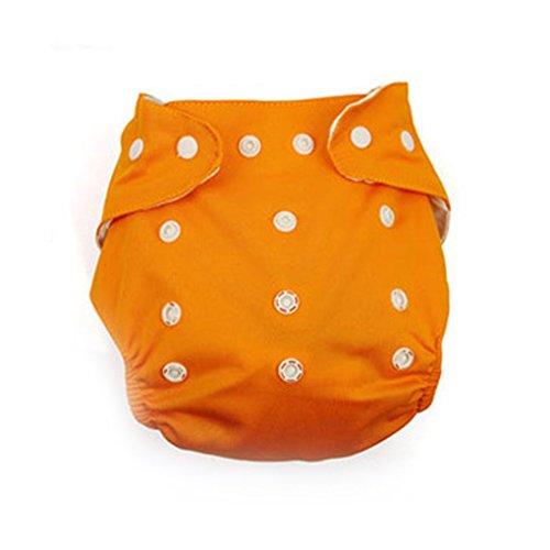 Befaith Reutilizable lavable ajustable de un solo tamaño bebé bolsillo pañales pañales pañal Naranja y cuadrícula