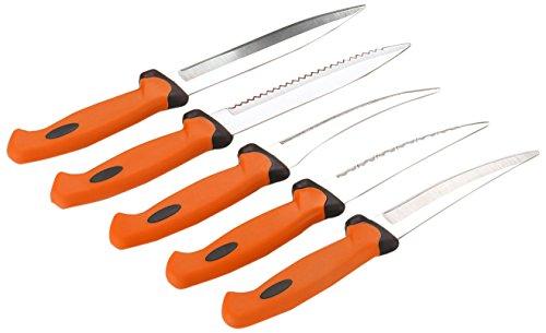 Amiraj Double Mould Plastic Knife Set Set of 5 White/Orange