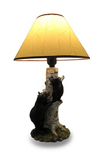 Black Bear and Cub Birch Tree Table Lamp W/Shade ()