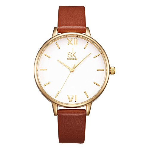 Women Watches Leather Band Luxury Quartz Watches Girls Ladies Wristwatch Relogio Feminino (K0056-Brown)