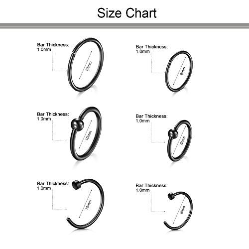 Dlla Black Nose Ear Rings 14pcs 18g 8mm 10mm Pa Captive Bead
