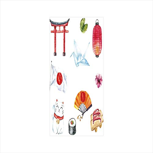 Decorative Window Film,No Glue Frosted Privacy Film,Stained Glass Door Film,Hand Drawn Traditional Elements Watercolors Torii Gate Origami Bird Flag Lacky Cat,for Home & Office,23.6In. by 47.2In Multi