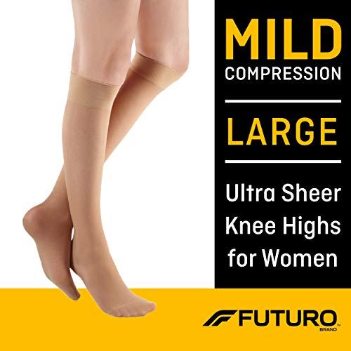 Futuro Ultra Sheer Knee Highs for Women, Large, Nude