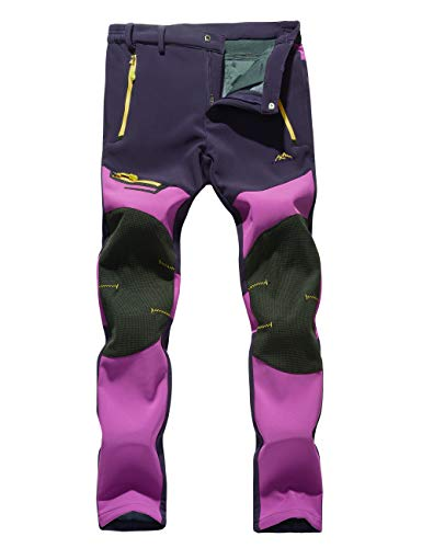 Camping Pants Women Winter Pants Thick Pants Thermal Fleece Pants Sports Pants Water Proof Pants Softshell Pants Women Purple - Snowboarding Field Pant