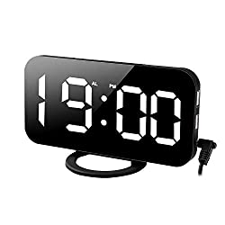 SEN-KEY Digital Alarm Clock, Electric Clock Bedside, 6.5'' Large LED Mirror Display Clock with Dimming Mode, with Dual USB Charger Port for Phone, Bedroom Living Room Decoration