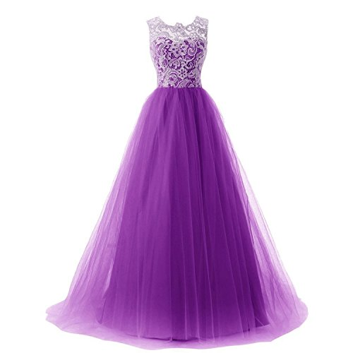 MEI&S Vintage mujer elegante vestido de Prom Larga Noche Maxi vestido de fiesta Purple