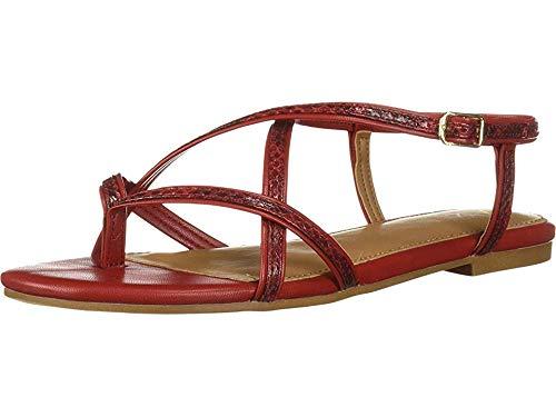 Short Hand Flat Sandal, RED Snake, 7.5 M US ()