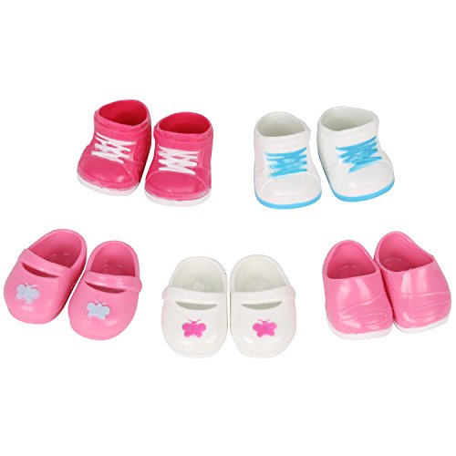 Huang Cheng Toys 5 Pairs of Shoes for 15-16 Inch Doll Boots Sneakers -