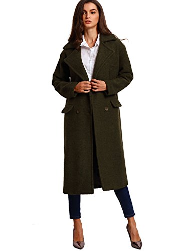 Verdusa Women's Autumn Casual Long Sleeve Double Breasted Coat Army Green M