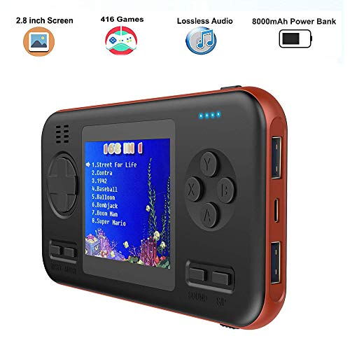 Peedeu 2.8 Inch Handheld Game Console,Retro Game Console Power Bank,Mini Video FC PVP Game Player Gameboy 416 Games Travel Portable Gaming System Built-in 8000mah Battery USB C Fast Charging Type C
