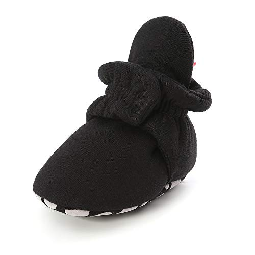 Isbasic Unisex Baby Cotton Booties Non-Slip Sole for Toddler Boys Girls Infant Winter Warm Fleece Cozy Socks Shoes (0-6 Months Infant, C/Black)