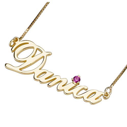 STARATION Personalized Name Necklace 24K Gold Carrie Style Name Plate Pendant with Custom Birthstone Gift for Women