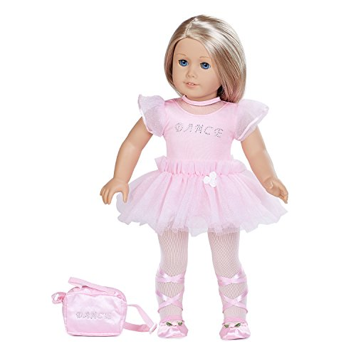 Doll Clothes(6 Pieces Pink Ballet Dress Includes Pink ballet dress ,Pink mesh tulle skirt,Pink glitter stone purse,Pink tie up ballet shoes,Hair Tie,Tight,Fits 18 Inch American Girl Dolls)