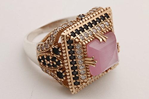 elry Square Shape Princess Cut Rose Gold Pink Cat's Eye Quartz and Round Cut Black White Topaz 925 Sterling Silver Ring Size Option ()