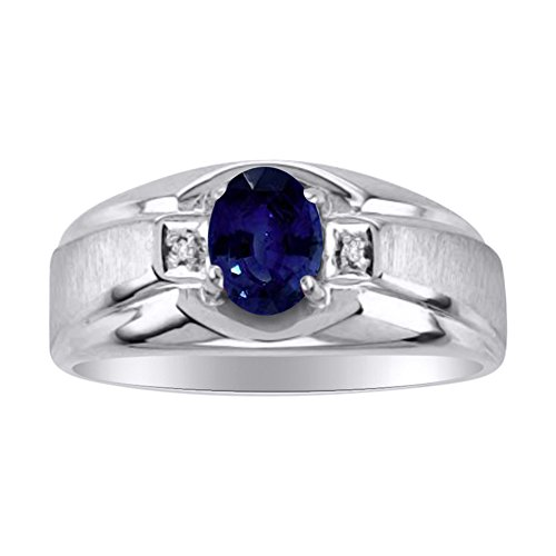 Genuine Blue Sapphire & Diamond Ring Set in Sterling Silver With Satin Finish by Rylos