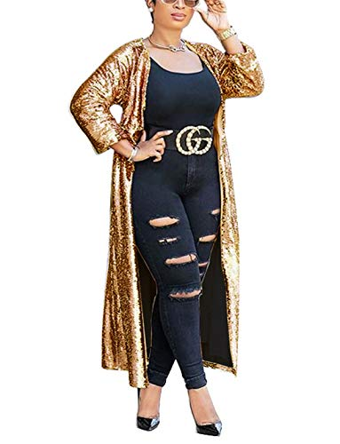ng Fall Cover Up Long Sleeve Slim Open Front Maxi Cardigan Coat Longline Duster Windbreaker Party Club Dress Gold XL ()