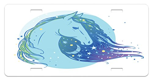 Lunarable Horse License Plate, Mystical Animal Portrait with Crescent Moon and Stars Magical Boho Symbol, High Gloss Aluminum Novelty Plate, 5.88 L X 11.88 W Inches, Pale Blue Violet (Crescent Side Plate)