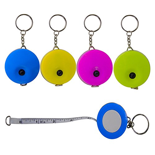 Lontenrea 5 Pack 60-Inch Soft and Retractable Tape Measure With Keychain for Tailor Sewing Body Measure Tape ()