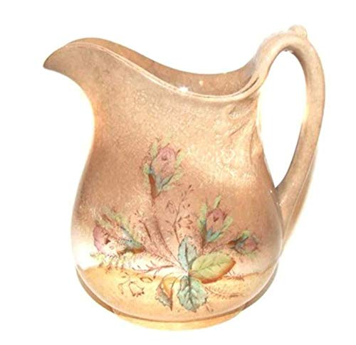 Heavily Crazed & Discolored Ironstone China Water Pitcher With Rose Flower Print England