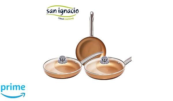 Las originales Optimum Copper. Juego de 3 sartenes de cobre superresistentes con 2 tapas. Diámetro 20/24/28 revestimiento antiadherente antiarañazos ...