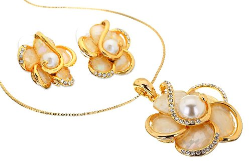 Victorian Snake Ring (Janeojewels Premium Swarovski Crystal Element, Mother of Pearl Shell Flower Pendant Necklace & Earring Jewelry Set Her. 14K Gold, Silver Under $25, Christmas, Easy Evening Cocktail Wear, Gift Wrapped)