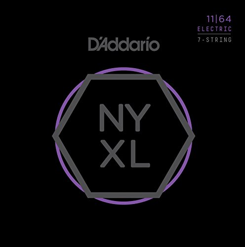 D'Addario NYXL1164 Nickel Plated Electric Guitar Strings, Medium,7-String,11-64 - High Carbon Steel Alloy for Unprecedented Strength - Ideal Combination of Playability and Electric ()