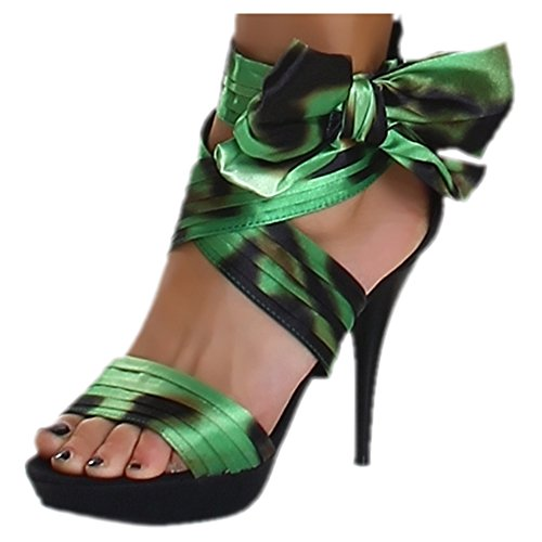 Sexy Ladies High Heels Sandals Women's Strappy Summer Shoes Size 3, 4, 5, 6, 7 UK - 36, 37, 38, 39, 40 EU Green / Black