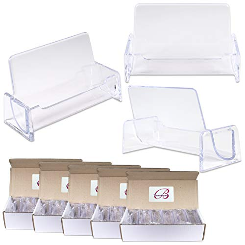 Beauticom 60 Pieces - Clear Plastic Business Card Holder Display Desktop Countertop (Style # 3) ()