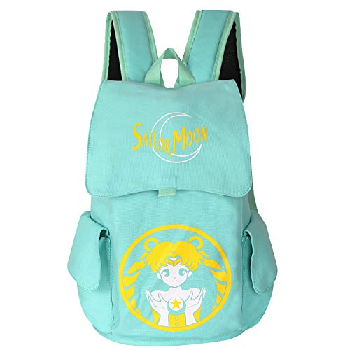Innturt Classic Anime Canvas Backpack Rucksack Bag School Backpack Sailor Moon (Blue) (Sailor Moon Material)