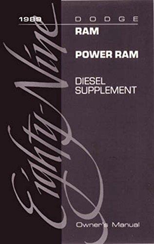 bishko automotive literature 1989 Dodge Ram Diesel Truck Owners Manual (Diesel Supplement ONLY) User Guide (Supplement 1989)