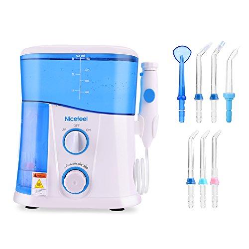 [Nicefeel] Water Flosser Irrigator oral FC188 Family Water Dental Jet Réservoir 1000ml avec stérilisation UV et 7 conseils