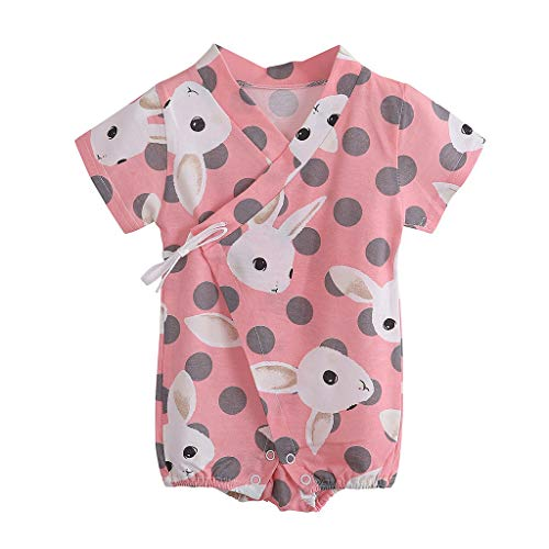 Shusuen Kimono Robe Newborn Cotton Yarn Robe Baby Romper Infant Pajamas Pink ()
