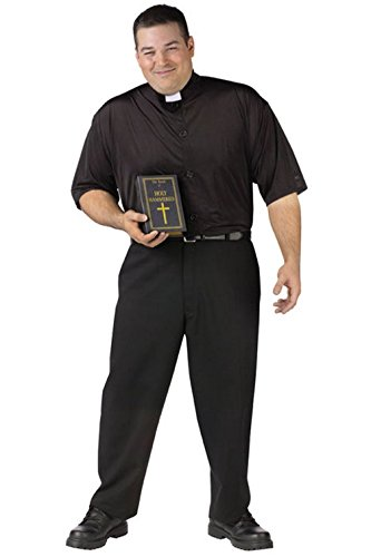 Mememall Fashion Happy Hour Holy Hammered Drunk Priest Plus Size Halloween Costume (Beetlejuice Plus Size Adult Mens Costume)