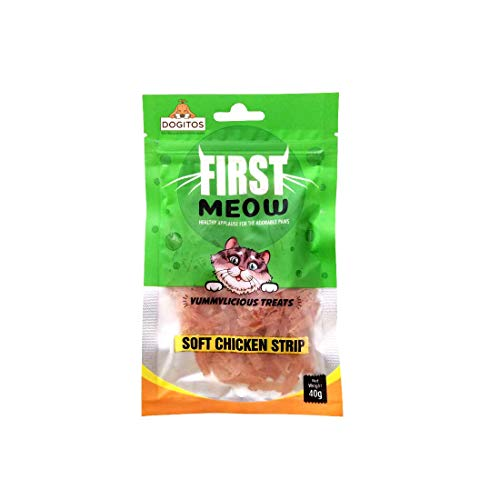 Dogitos First Meow Healthy Cat Treats 40G (Soft Chicken Strip, Pack of 3)
