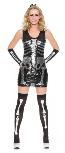 [Delicious Sequin Front Pull Over Dress Skelly Sally, Multi, Medium] (The Nightmare Before Christmas Sexy Jack Costumes)