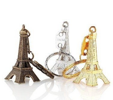 Lani Ang 3pcs Cute Adornment 3D Eiffel Tower French Souvenir Pairs Keychain Keyring 3 Colors Bronze Silver ()