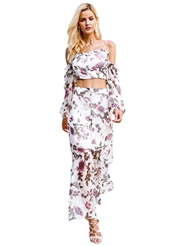 Dress Romantic Ruffle (Simplee Apparel Women's Off Shoulder Chiffon Floral Print Long Maxi Dress Two Piece Set)