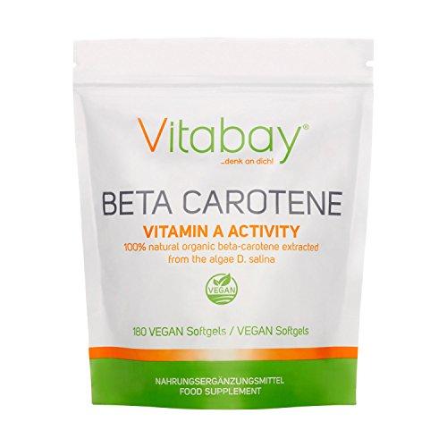 Beta Carotin 25.000 IE - 180 vegane Softgels - Vitamin A Activity hochdosiert - natürlich aus Algae D. Salina