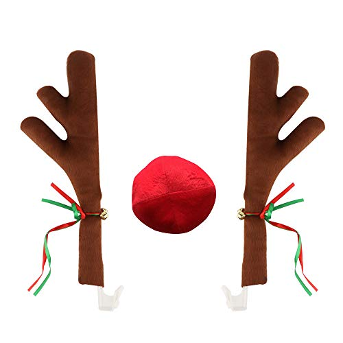 ZATAYE Car Reindeer Antlers & Nose - Window Roof-Top & Front Grille Rudolf Reindeer Vehicle Costume with Jingle Bells Car Antlers, Reindeer Antlers for Car with Plush Reindeer Nose for Car Grille]()