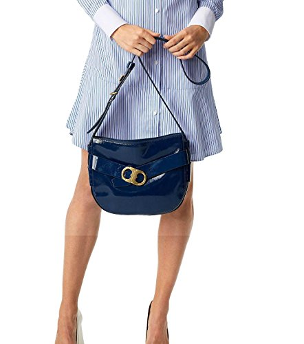 Tory Burch Cross-Body Bags – Womens Gemini Link Patent Cross-Body Midnight Swim (Midnight Swim)
