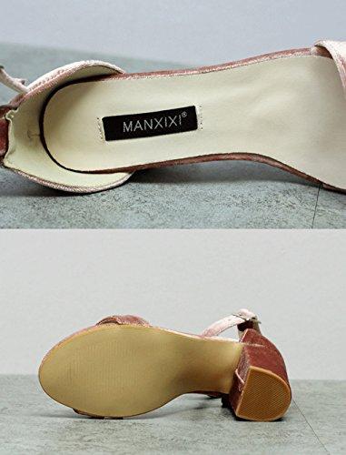 JAZS® Sandales Simples épais à Talons Hauts Sexy New Style Fashion Sweet Élégant à la Mode Rose SmKHLHr