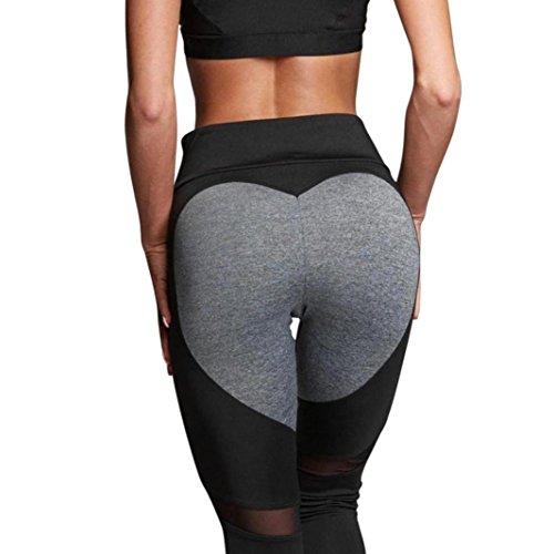 Hip Heart Shape Skinny Yoga Leggings,Leyorie Women High Waist Elastic Fitness Pants (Black, - Shapes Heart Cool