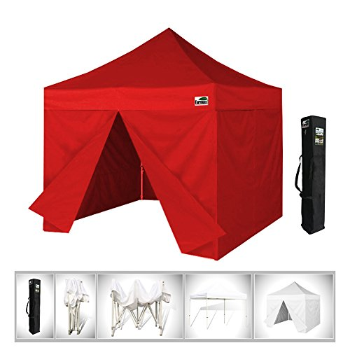 Eurmax 10 x 10 Pop up Canopy, Party Tent, Gazebo Display Shade, With 4 Sidewalls and Dust Cover (Red)