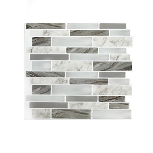Peel & Impress Peel&Impress Self Adhesive backsplash Tile - Marble Grey Oblong - 11.25