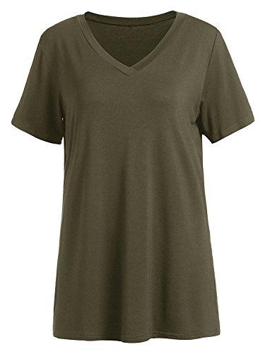 Floerns Women's V Neck Short Sleeve Casual T-shirt Small Green