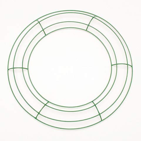Metal Wire Circle Shaped Wreath Frame (Color: Green) Christmas DIY Craft & Home Decorations ()