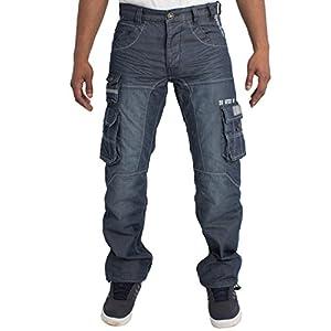 ENZO Mens Regular Fit Heavy Duty Work Cargo Combat Denim Jeans