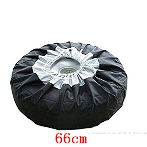(Car Black Sliver 13-19'' ,17-22'' Automotive Spare Tire Tyre Wheel Cover With Carrying Handles Tote Car Wheel Protector Storage Bag (1PCS of Pack) (66cm))