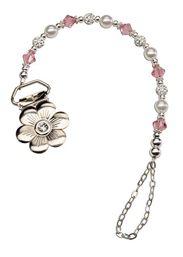(Sterling Silver Daisy Binky Clip with Pink Swarovski Crystals and Pearls (Clip is Base Metal))